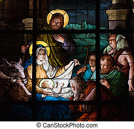 Nativity Scene, stained glass window created by F. Zettler...