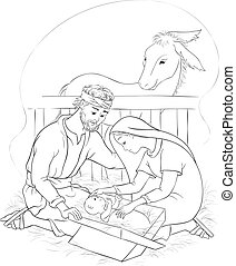 Nativity scene with Holy Family. Jesus, Mary and Joseph Coloring page