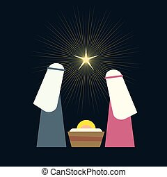 Nativity scene with Holy Family vector illustration