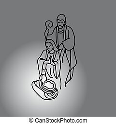Nativity scene with Holy Family vector illustration doodle...
