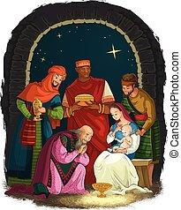 Nativity Scene with Jesus, Mary, Joseph and Three Kings - Wise Men. Christian Christmas illustration