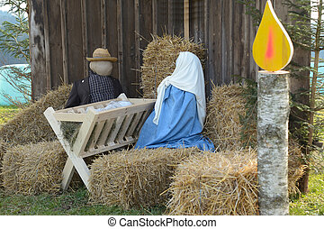 Nativity scene with life-size figur - grosse Krippe mit...