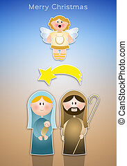 Nativity scene with Mary, Joseph and Jesus Christ