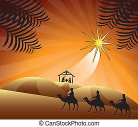 nativity scene with wise men. vector illustration