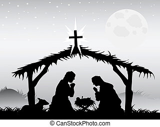 nativity scene,vector - the background of nativity scene in...