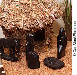 Nativity set in an village with wooden figurines 2 -...