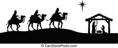 A cartoon illustration of a Nativity Scene concept.