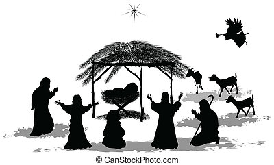 Nativity Silhouette - Black silhouette nativity scene and...