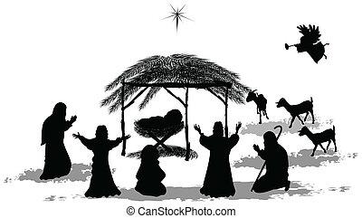 Nativity Silhouette - Black silhouette nativity scene and...