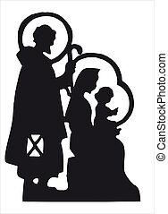 Nativity scene with Jesus, Mary, Joseph silhouette