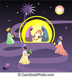nativity - Christmas nativity scene with baby Jesus in the...