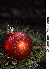 Nativity story written on Christmas ornament bulb