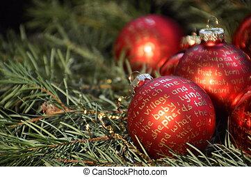 Nativity story written on Christmas ornament bulbs