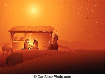 nativity táj, jámbor, család, stabil
