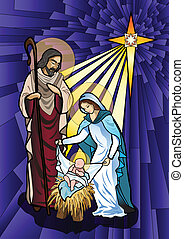 Nativity - Vector illustration of the holy family of the...