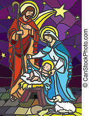 Nativity - Vector illustration of the holy family of the ...