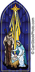 Vector illustration of the holy family of the nativity or birth of Jesus created as stained glass.
