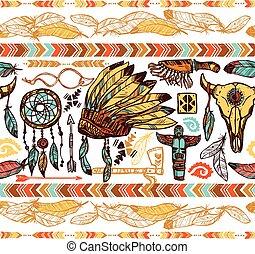nativo, americanos, seamless, padrão