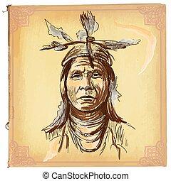 nativo, esboço, americano, -, indianas, vetorial, freehand, mão, desenhado