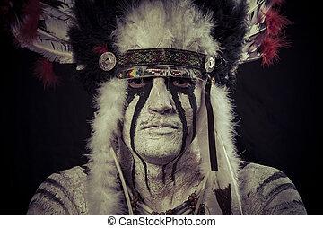 nativo, grande, norteamericano, jefe, indio, pluma, tocado