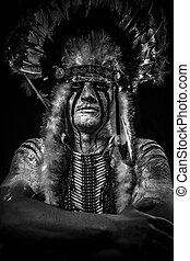 nativo, guerrero, grande, norteamericano, jefe, indio, pluma...