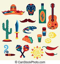 nativo, Mexicano, estilo, cobrança, ícones