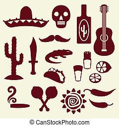 nativo, mexicano, style., cobrança, ícones