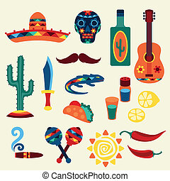 nativo, mexicano, style., colección, iconos