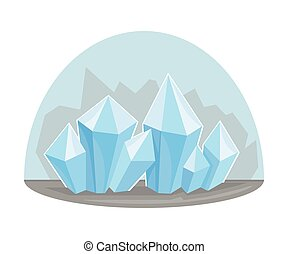 nativo, recurso, minerales, cristales, natural, vector, ...