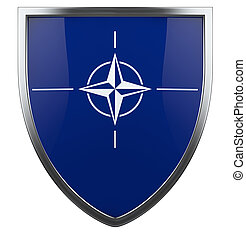 NATO flag shield isolated icon.