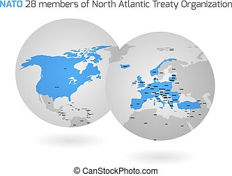 NATO member countries globes - NATO member countries marked...