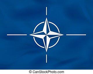 Nato waving flag. Nato national flag background texture....