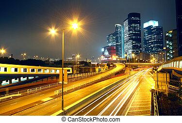 natt, genom, trafik, landskap, stad, urban