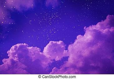natt himmel, med, stars.