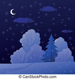 natt, landskap, skog, vinter