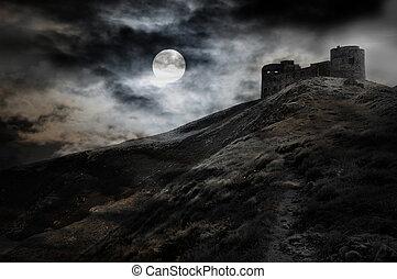 natt, måne, och, mörk, fästning