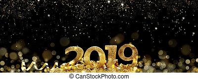 natt, nytt år, abstrakt, 2019