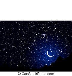 natt, sky, utrymme