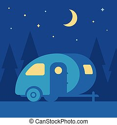 natt, släpvagn, camping