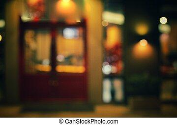 natt, suddig, restaurang