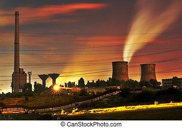 natt, synhåll, av, den, industriellt område