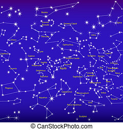 natt, underteckna, sky, zodiaken, konstellationer