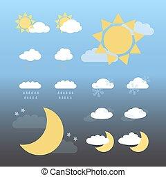 natt, väder, dag, ikonen
