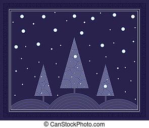 natt, vinter scen