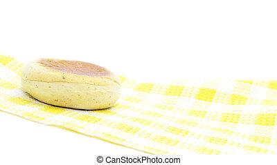 natte, muffin, jaune, anglaise, table, petit déjeuner