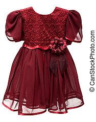 Natty crimson baby gown on white background