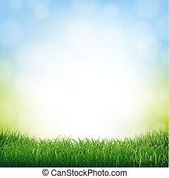 natur, baggrund, hos, græs, grænse