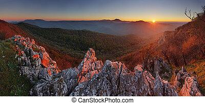natur, berg, sonnenuntergang, -, panoramisch, slowakei, mann, karpaty