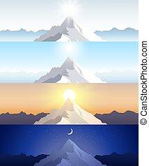 natur, bjerg, set., en, midday, sol, daggry, solnedgang, nat ind, den, bjerge., landskaber, hos, peak., bjergbestigning, rejse, outdoor rekreation, concept., abstrakt, vektor, baggrunde, by, væv, printer, osv..