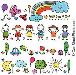 natur, cute, crianças, elementos, padrão